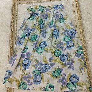 Vintage 1980s 1990s Highwaisted pleat Floral Skirt